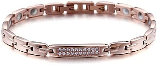 WYDMBH Armbänder für Männer Titan-Stahlarmband Japanischer und koreanischer Mode Rose Gold Diamant-Set Titan-Stahl-Schmuck leicht mit jedem (Color : A, Size : 21.5x0.6cm)