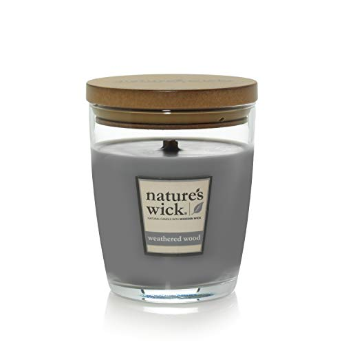 Nature's Wick Weathered Woods Scented Candle|10 oz. Jarred Candle|Natural Wood Wick Candle with up to 65 Hour Burn Time