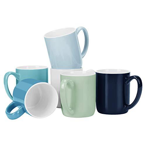 Coffee Mugs Set of 6 Porcelain Coffee Mugs Large Size Coffee Mugs Set Coffee Mug Set for Coffee Hot Tea Cocoa Colorful Coffee Mug 15 Oz Cool Assorted Colors
