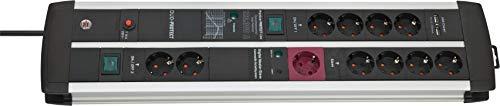 Brennenstuhl Premium-Protect-Line, Steckdosenleiste 11-fach mit Überspannungsschutz, Master Slave Funktion und USB-Ladefunktion (2 Schalter und 3m Kabel, Made in Germany) schwarz