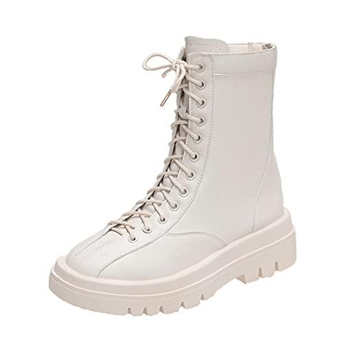 Botines para mujer, cómodos, ligeros, formales, de negocios, plataforma, punta redonda, fiesta, otoño, botas de cuero vintage