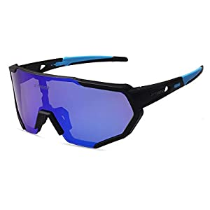 X-TIGER Polarized Sports Sunglasses with 3 Interchangeable Lenses,Mens Womens Cycling Glasses,Baseball Running Fishing Golf Driving Sunglasses