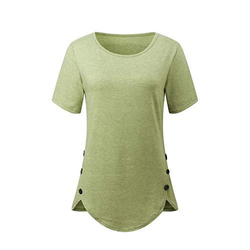 BURFLY Damen Sommer Herbst Mode Einfarbig T-Shirt, Art- Und Weisefrauen Freizeit Retro Kurzschluss Hülsen Normallack Knöpft O-Ansatz Oberseiten Casual Pullover