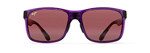 Maui Jim Red Sands - Gafas de sol rectangulares de ajuste asiático, Morado (Morado/Maui Rose Polarizada), Medium