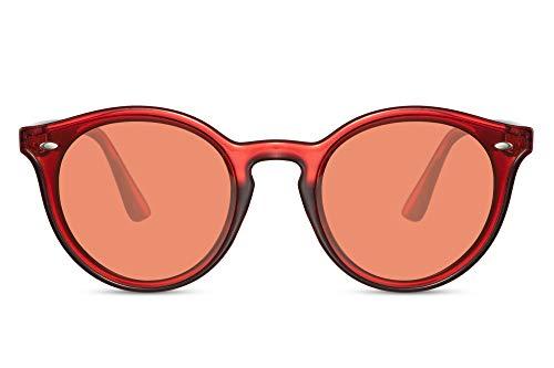 Cheapass Gafas de Sol Transparente Rojas Redondas Rojas Translúcidas Cristales con Apliques Especiales Retro UV 400 Mujeres