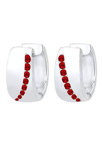 Elli Ohrringe Damen Creolen funkelnd mit roten Swarovski® Kristallen in 925 Sterling Silber