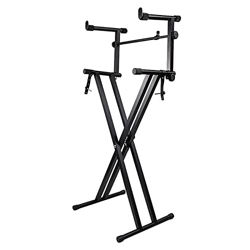 Miwayer Piano Stand Frameworks Deluxe Two Tier X-Style Keyboard Stand Height & Width Adjustable with Quick Release Mechanism, For 54-88 Key Electric Pianos, Black