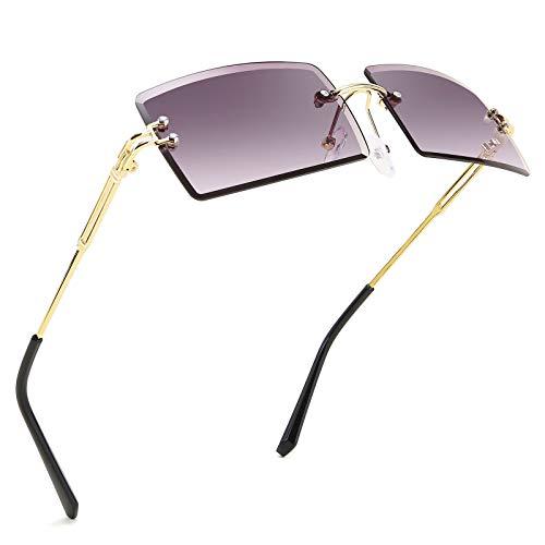 FEISEDY Gafas de sol vintage sin montura rectangulares sin marco de color caramelo para unisex B2642