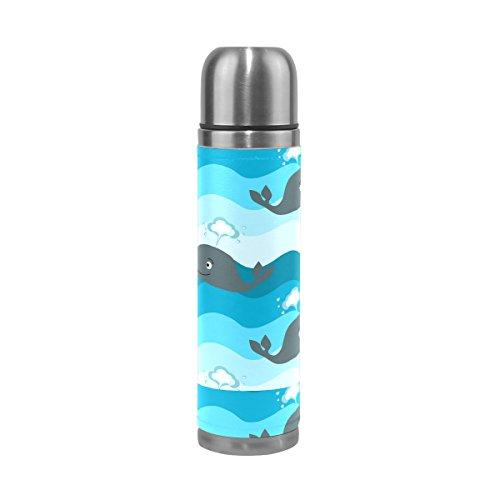 Isaoa 500 ml Boisson Bouteille d'eau en acier inoxydable Bouteille isotherme Thermos anti-fuites double Dessin animé Baleine bleue Paroi Flasque pour l'intérieur Sports de plein air randonnée Course