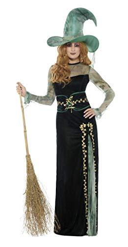 Smiffy's - Dames Deluxe Smaragd heksen kostuum, jurk, riem en hoed, groen