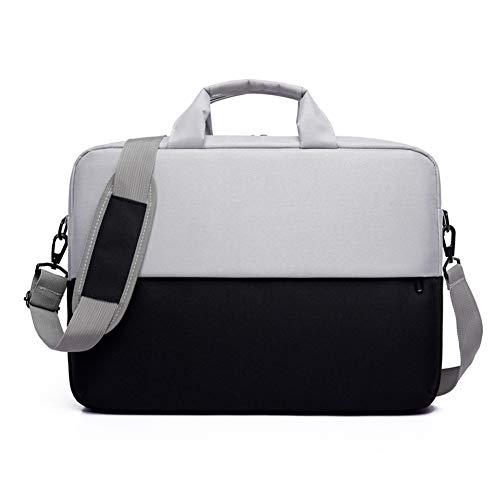 Bolsa de hombro para computadora portátil, computadora portátil o tableta de 15,6 pulgadas, tela elegante, duradera y repelente al agua, carga superior ligera, informal de negocios o escolar,Negro
