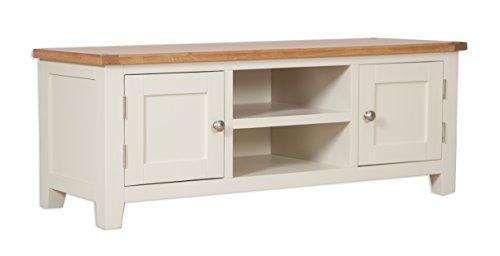 Classically Modern Dorset French Ivory/Cream Painted Oak & Pine Flatscreen Plasma Tv Unit Bench Cabinet Living Room Furniture