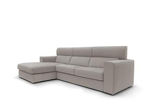 Sofá fijo de tela suave totalmente desenfundable, modelo Titan de 3 plazas o esquinero con chaise longue derecha o izquierda, estructura de madera, fabricado en Italia, (ángulo izquierdo) 271