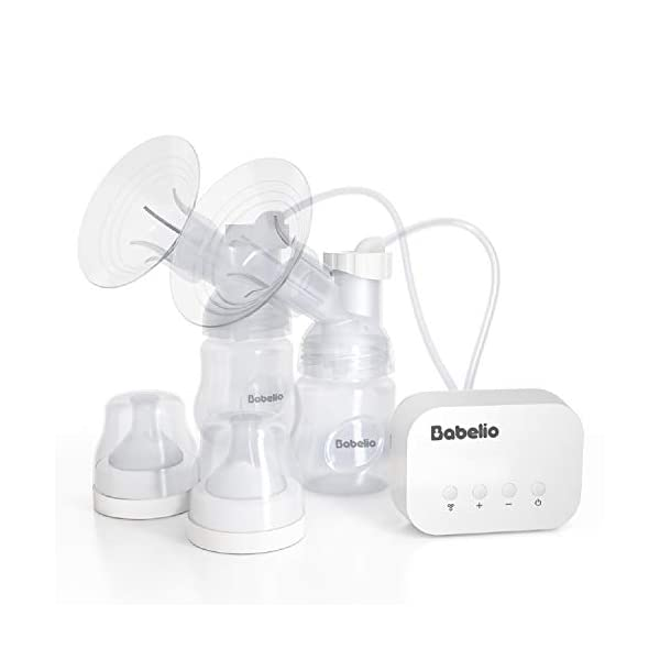 BABELIO Electric Breast Pump, 2 Modes, 12 Levels, Strong Suction Power, Suitable for Unilateral/Bilateral Breasts, Made of Food Grade Silicone, BPA Free, Memory Function, Physical Button, Low Noise
