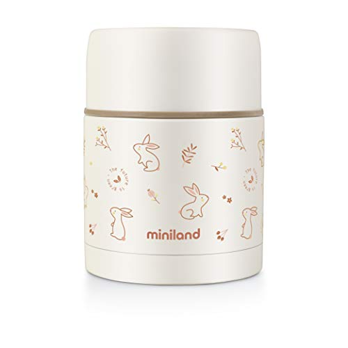 Miniland 89348 - Termo papillero de acero inoxidable para bebé ECO Bunny - Termo para alimentos sólidos de 600ml, termo papillero colección EcoFriendly