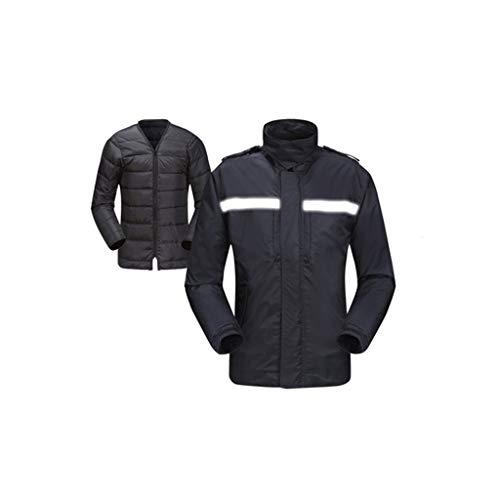 Warm Reflective Anzug, Schwarze Sicherheitsjacke Velvet Double-Layer-wasserdichtes Outdoor-Reiten Reflektierende Licht Arbeitskleidung im Winter (Größe : Large)
