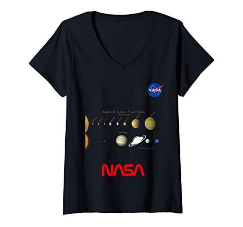 Donna NASA Kepler-90 Rispetto Al Nostro Sistema Solare Il Sistema Maglietta con Collo a V