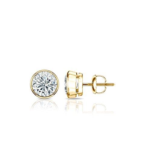 0.50 Carat TW 14k Yellow Gold Bezel-set Round Diamond Stud Earrings (Good, I1-I2) Screw-backs by Diamond Wish