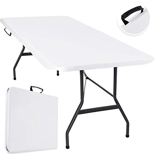 KESSER® Buffettisch Tisch klappbar Kunststoff 240x70 cm cm Campingtisch Partytisch Klapptisch Gartentisch für Garten, Terrasse und Balkon zusammenklappbar 8 Personen inkl. Tragegriff, Weiß