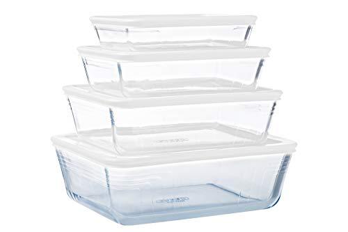 Pyrex® - Cook & Freeze - Lot de 4 plats en verre avec couvercle hermétique (0.8L, 1.5L, 2.6L, 4L) - Spécial congélation - Sans BPA