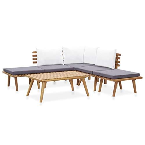 Tidyard Conjuntos Sofa Exterior Patio 2# Juego de Muebles de jardín 6 Piezas Madera Maciza de Acacia