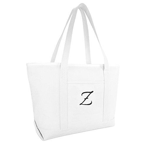 Dalix Große Canvas-Einkaufstasche für Damen, Arbeitstasche, Strandtasche, Monogramm, Weiß, A-Z, Weiá (Z), Large