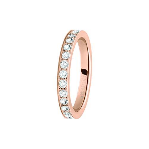 Morellato Anello da donna, Collezione Love Rings, in acciaio, PVD oro rosa e cristalli - SNA40018