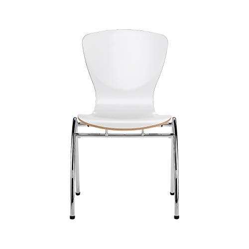 Nowy Styl Group Stuhl Bingo, Holzschale, ohne Sitzkissen, ohne Armlehnen, stapelbar, weiß laminiert