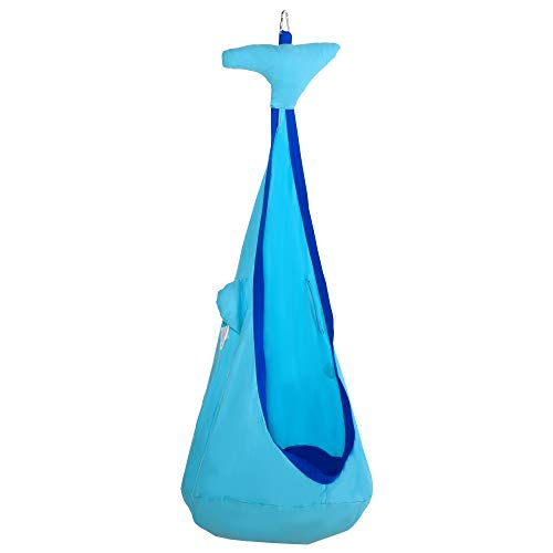 Outsunny Hängehöhle Kinder Hängesessel Kinderhängesitz mit Sitzkissen für 3-8 Jahre War-Design 100% Baumwolle Blau Ø70 x 150H cm