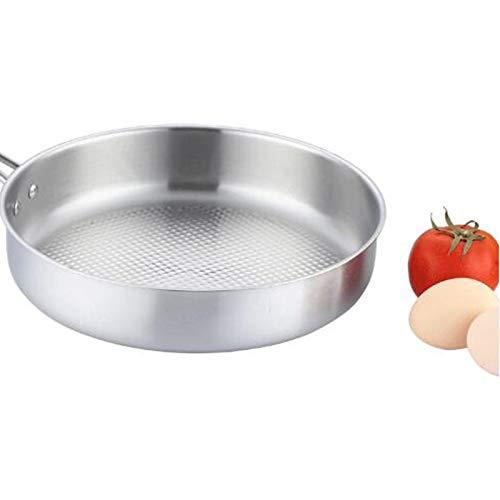 HEEGNPD Inductie-wok, niet gecoat, roestvrij staal, universele pan, anti-aanbaklaag, meerlaags, Family Hotel Universal Flat Bottom Wok, 26 cm