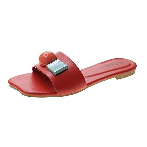YYFF Chanclas Mujer Verano,Pantofole antiscivolo Happing,Soft Fashion-Red_37,Hombres Mujeres Sandalias