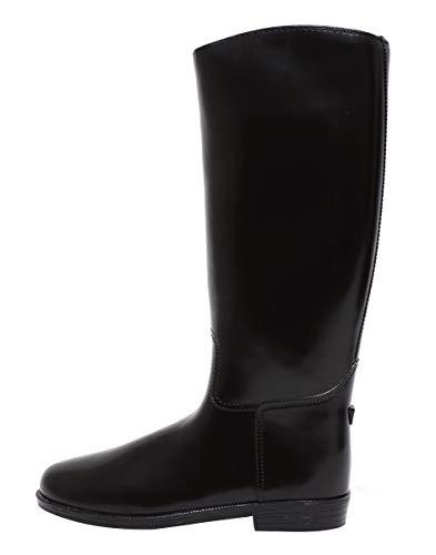 Zapato Damen Mädchen Reitstiefel Reiterstiefel Riding Boots PVC Langschaft Basic schwarz mit Absatz und Sporenhalter Gr. 37 – 41 (38 EU)