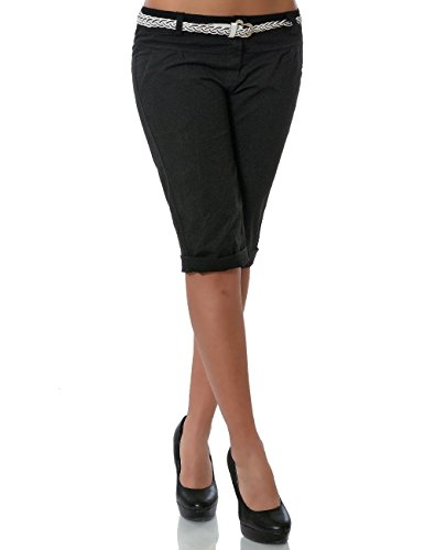 Damen Chino Capri Hose Sommer Stoffhose inkl. Gürtel DA 13934 Farbe Schwarz Größe M / 38