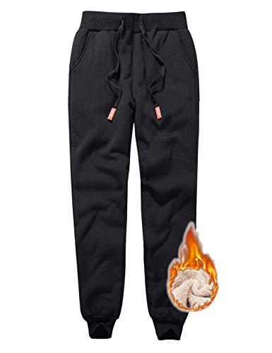 Jenkoon Womens Warm Fleece Sherpa Lined Sweatpants Drawstring Jogger Pant Trousers (Black, Medium)