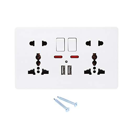 YOYOHO Enchufe de Pared con Interruptor de luz 5 Agujeros Doble USB Blanco Panel de PC 2# Marco Doble