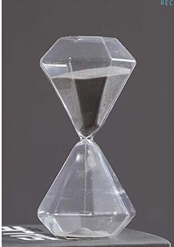 DFBGL Temporizador de Cristal Reloj de Arena Dorado, Regalo Creativo Reloj de Arena de Cristal Reloj de Arena, Temporizador de Arena Dorada Decoración del hogar Reloj de Arena 30min Gris