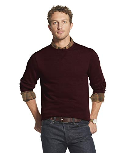 G.H. Bass & Co. Men's Big & Tall Big Mountain Long Sleeve Sueded Fleece Crewneck, CORAZON HEATHER SOLID, 2X-Large Tall