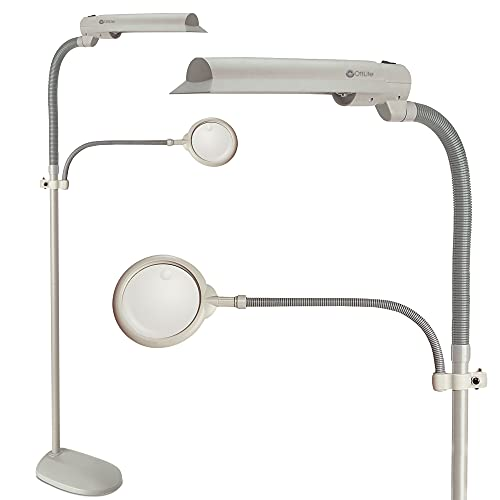 OttLite 18W EasyView Floor Lamp – Optical Grade Magnifier Attachment Arm, Flexible Neck & Shade, Modern Design for Crafting, Work, Office, Sewing, Reading