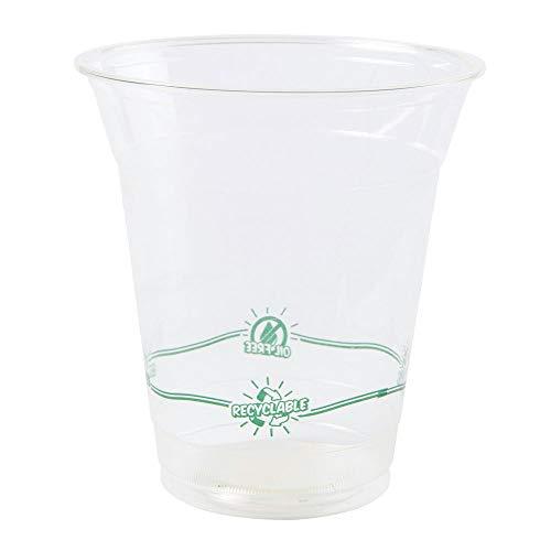BIOZOYG Trinkbecher Einweg Bio Kunststoff PLA I 50 Partybecher mit breiter Öffnung, ideal für Smoothie, Frozen Joghurt, Cocktail, Saft UVM I Getränkebecher transparent mit Druck 300 ml, 12 oz