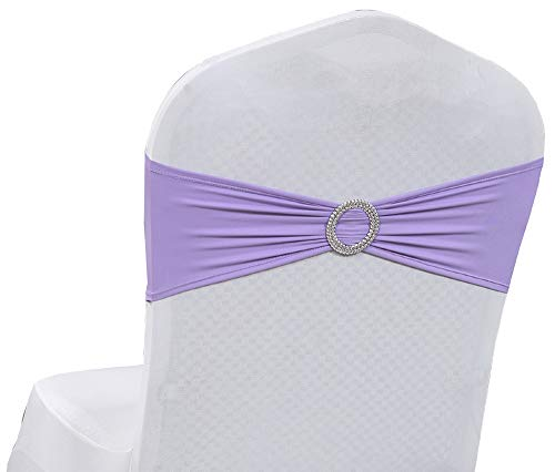 mds Pack of 25 Spandex Chair Sashes Bow sash Elastic Chair Bands Ties with Buckle for Wedding and Events Decoration Spandex Slider Sashes Bow - Lavender
