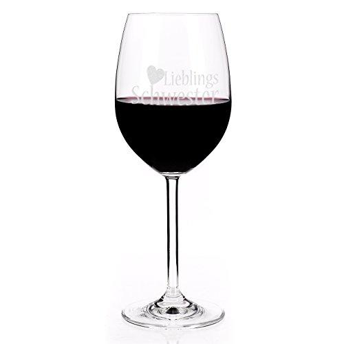 Leonardo Weinglas mit Gravur: Lieblingsschwester mit Herz