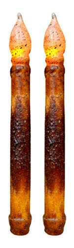 for Set of 2 Primitive 9' Brnt Mustard Taper Candles - Non Timer Battery Operated Veryn Supplier for Home Décor Plaques & Signs