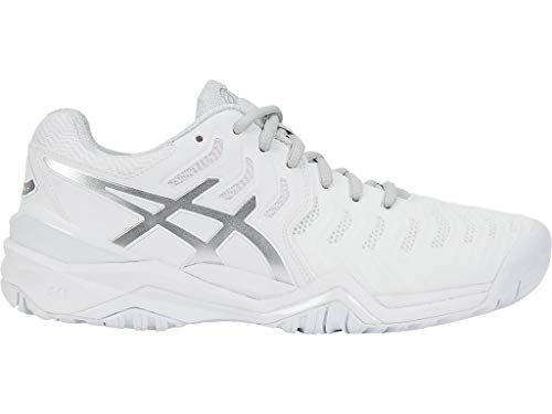 ASICS Women's Gel-Resolution 7 Tennis Shoe, White/Silver, 8.5 M US
