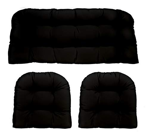 3 Piece Wicker Cushion Set - Indoor Outdoor Black Solid Fabric Cushion for Wicker Loveseat Settee & 2 Matching Chair Cushions