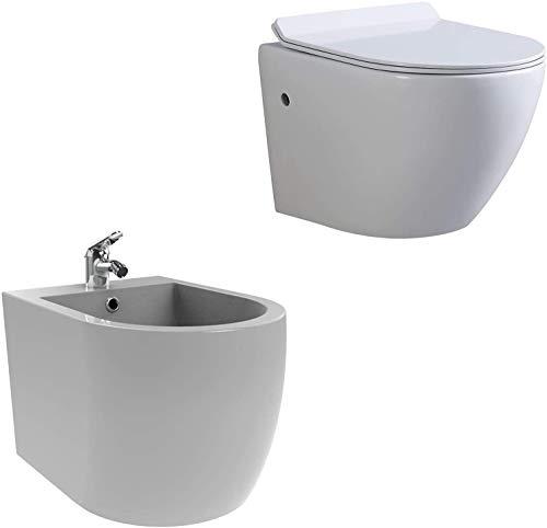 Toilette Hänge WC Spülrandlos inkl. WC Sitz mit Absenkautomatik + Wand Hänge Bidet Weiß inkl. Armatur Kompletset FRANCO