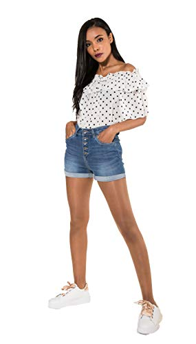 Crazy Age Damen Bermuda Shorts Damen High Waist Shorts Kurze Hosen 5 Pocket Jeans-Shorts | Lockere Kurze Hose aus hochwertigen Denim (38, Blau)