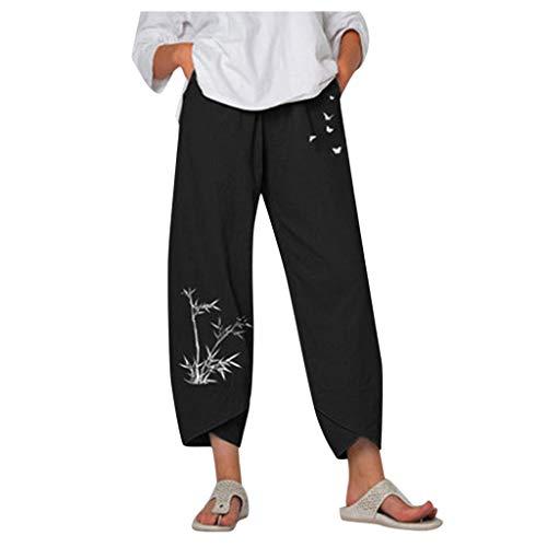Kanpola Leinenhose Damen Sommer Große Größen Leinen Hose Druck Freizeithose mit Taschen Frauen Hosen Jogginghose Loose Bequem Yogahose Haremshosen
