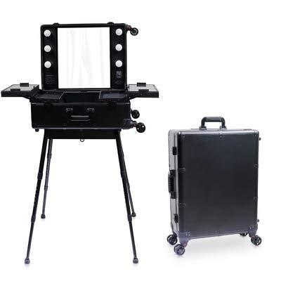 Mdsfe Nueva Caja de Estuche de cosméticos LED Espejo Iluminado Maquillaje Maleta de Viaje Artista Tocador portátil con Patas Equipaje con Ruedas - Negro