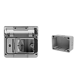 scheda 4box 4b.w.ral.015, wide ip55, presa elettrica da esterno per scatola da incasso tipo 503 con schuko bivalente, grigia & 4b.wb.ral scatola da parete ip67 per custodia wide, grigio
