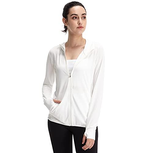 Casei Women Yoga Jacket Ultra -Thin UPF 50+ Sun Protection Hoodie Shirt Long Sleeve Outdoor UV Shirt Running Hiking Jacket (White, M)